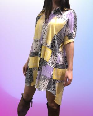camicia carola lilla e giallo lumina
