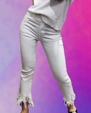 jeans bianco sfrangiato
