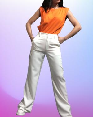 pantalone bianco profilo nero
