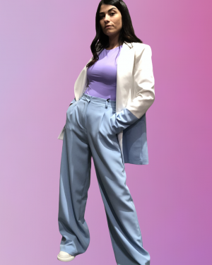 pantalone lumina celeste con suo blazer