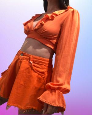 crop top amal arancio